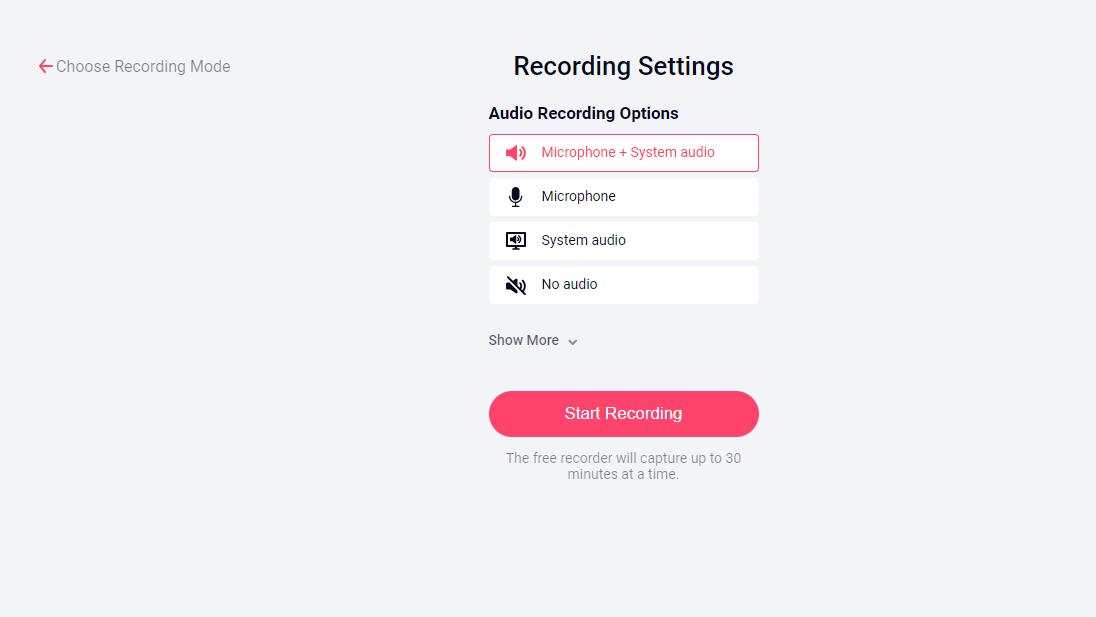 Choose an audio recording option